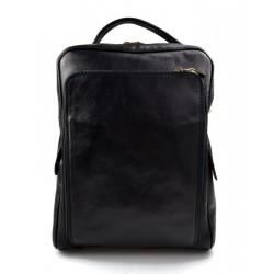 Backpack genuine leather travel bag weekender sports bag black