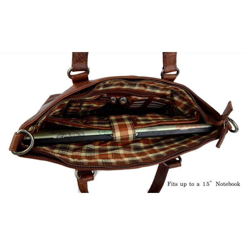 05b149bf8f ... Borsa pelle donna notebook con manici e tracolla vera pelle borsa a mano  e spalla marrone ...