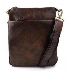 Bandolera de cuero bolso de espalda mujer de piel bolso de piel hombre marron oscuro cartero de cuero