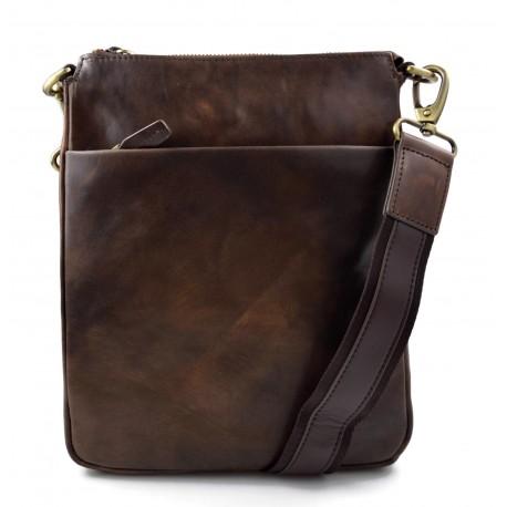9de72302 Dark brown leather shoulder bag sling mens women messenger leather satchel  crossbody