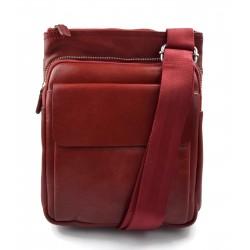 Bandolera de cuero bolso de piel messenger cartero de cuero rojo bolso de piel de hombre