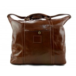 Leather dufflebag XXL weekender brown mens ladies travel duffel gym bag luggage