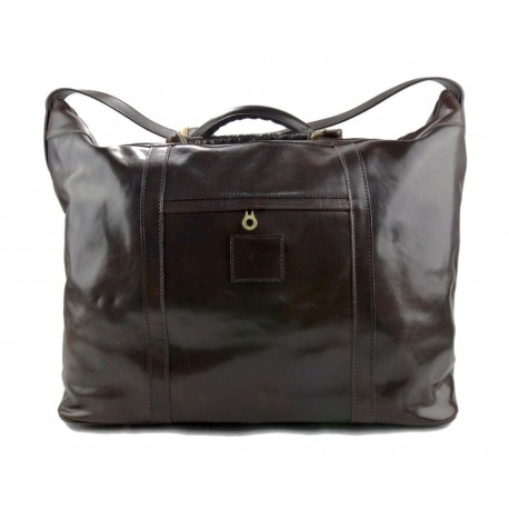 Leather dufflebag XXL weekender coffee mens ladies travel duffel gym bag luggage