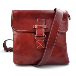 Bandolera de cuero bolso hombre piel bolso de cuero rojo bolso de espalda