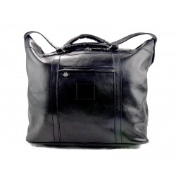 Leather dufflebag XXL weekender black mens ladies travel duffel gym bag luggage
