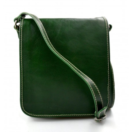 scegli il meglio a piedi a brillantezza del colore Tracolla pelle uomo donna verde borsa pelle borsello spalla