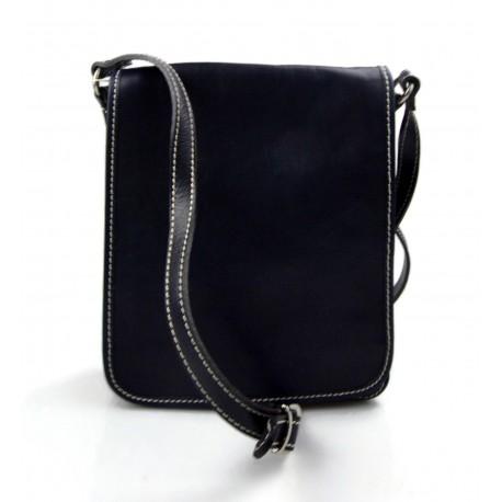 Bolso de cuero bandolera hombre mujer cartero de cuero azul bolso de piel messenger