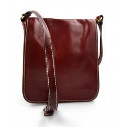 Bolso de cuero bandolera de piel cartero rojo de hombre de mujer de cuero bolso de piel bolso de espalda bolso de piel