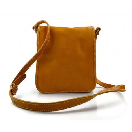Tracolla pelle uomo donna giallo borsa pelle borsello spalla