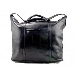 Sac de voyage homme femme bandoulière en cuir véritable sac de sport sac bagage à main noir