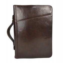 Leather folder document file folder A4 leather zipped folder bag dark brown