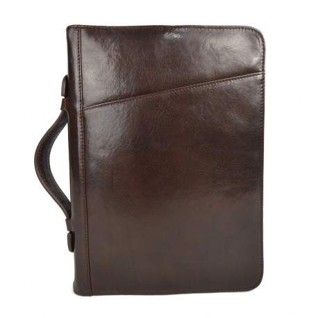 Leather folder document file folder A4 leather zipped folder bag dark brown