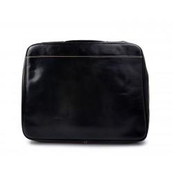 Leather folder document file folder A4 leather zipped folder bag black