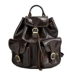 Backpack leather dark brown backpack genuine leather travel bag weekender sports