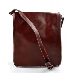 Mens shoulder leather bag shoulder bag genuine leather briefcase messenger red