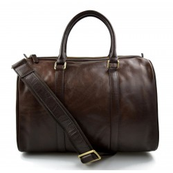 Dark brown duffle bag leather small duffle genuine leather travel bag