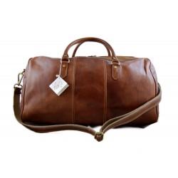 Mens leather duffle bag light brown shoulder bag travel bag luggage weekender carryon cabin bag