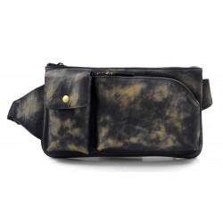 Monedero de cuero bolso del monedero de piel azul bolso vintage bolsita hombre mujer de piel