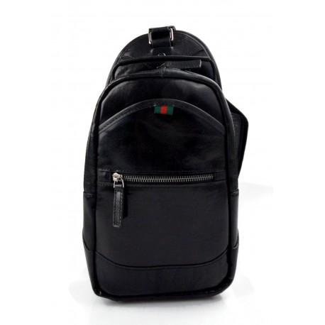 Bolso mochila negro de cuero bolso de hombre bolso de mujer mochila de piel bolso de espalda de piel bolso bandolera de piel