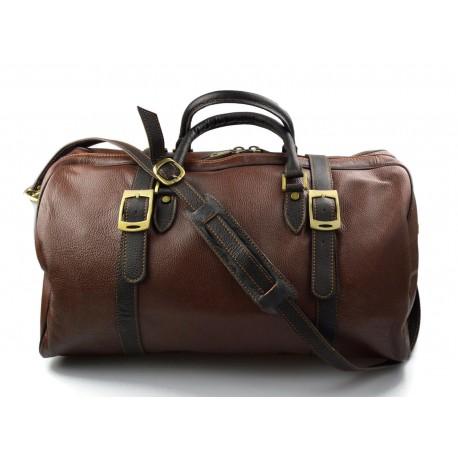 Borsone pelle uomo donna borsa viaggio con manici e tracolla marrone