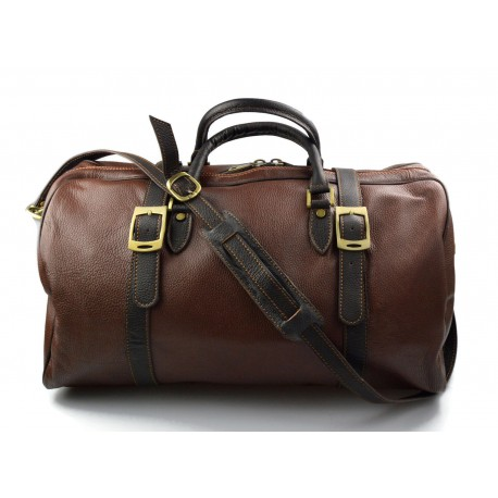 2f2564e978db Duffle bag genuine leather travel bag shoulder bag brown mens ladies travel  bag gym bag luggage made in Italy