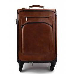 Leder Troller Reisetasche Manner Damen mit Griff braun