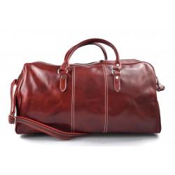 Mens leather duffle bag red shoulder bag travel bag luggage weekender carryon cabin bag