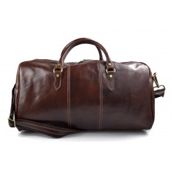 Mens leather duffle bag brown shoulder bag travel bag luggage weekender carryon cabin bag
