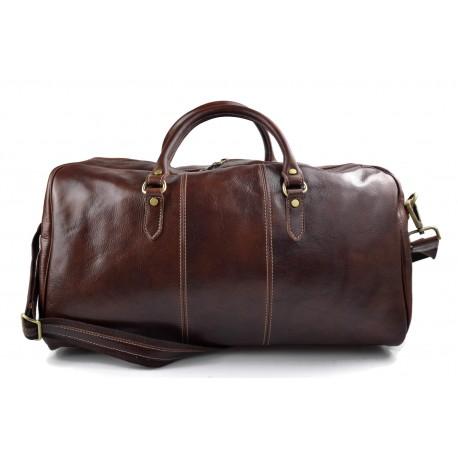 Borsone uomo donna borsa viaggio con manici e tracolla vera pelle marrone