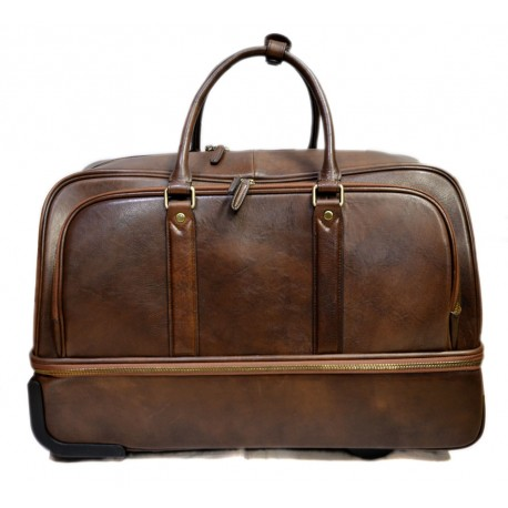 Leather duffle trolley travel bag weekender overnight leather bag with wheels dark brown
