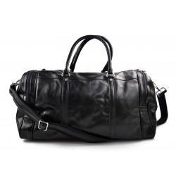 Bolso de viaje deportiva mujer bolsa de hombre con asas y correa de piel negro