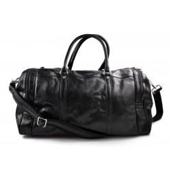 Mens leather duffle bag black shoulder bag travel bag luggage weekender carryon cabin bag