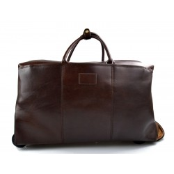 Leather trolley duffle trolley travel bag weekender overnight bag dark brown