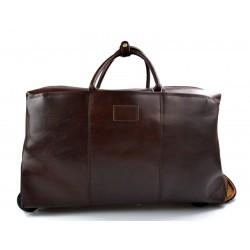 Sac voyage trolley voyage en cuir sac bagages a main en cuir marron fonce
