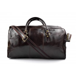 Mens leather duffle bag dark brown shoulder bag travel bag luggage weekender carryon cabin bag