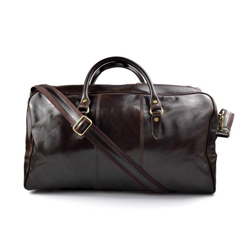 Mens leather duffle bag black shoulder bag travel bag luggage weekender carryon cabin bag gym leather bag