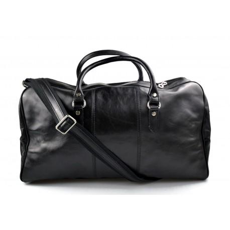 Borsone uomo donna borsa viaggio con manici e tracolla vera pelle nero