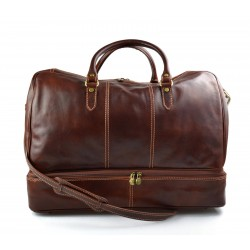 Leather duffle bag genuine leather shoulder bag brown mens ladies travel bag gym bag luggage duffel weekender carryon bag