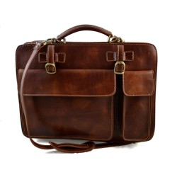 Leather shoulder bag briefcase carry on messenger bag leather ladies handbag mens office bag brown