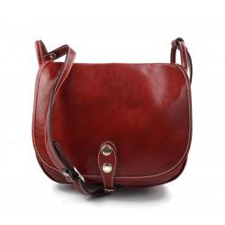 Bolsa de cuero de mujer rojo  made in Italy bandolera bolso de espalda bolso de piel