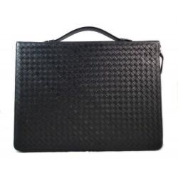 Cartella portadocumenti A4 portadocumenti pelle intrecciato porta tablet in pelle nero