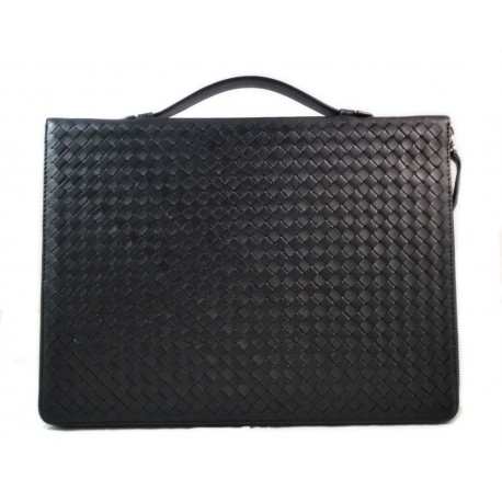 Leather folder A4 document file folder A4 braided weaved leather zipped folder bag black