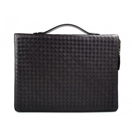 Leather folder A4 document file folder A4 braided weaved leather zipped folder bag dark brown
