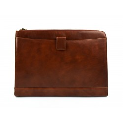 Leather folder A4 portofolio document file folder A4 leather zipped document leather bag office folder document organiser brown