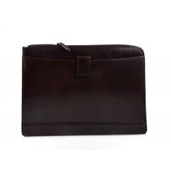 Maletin cartera en piel genuina italiana cartera bolso cartera de cuero marron oscuro organizador cuero carpeta de archivos