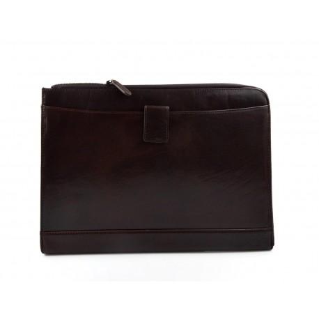 Leather folder A4 portofolio document file folder A4 leather zipped document leather bag office folder organiser dark brown