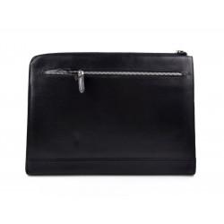 Maletin cartera en piel genuina italiana cartera bolso cartera de cuero negro organizador cuero carpeta de archivos