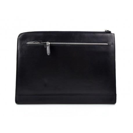 Leather folder A4 portofolio document file folder A4 leather zipped document leather bag office folder organiser black