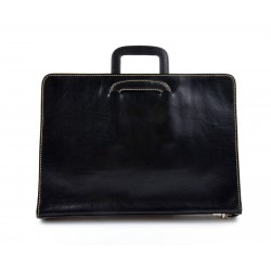 Maletin en piel genuina italiana cartera bolso cartera de cuero organizador cuero asas retráctiles carpeta de archivos negro