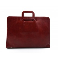 Leather folder A4 document file folder A4 leather zipped document retractable handles office folder  portofolio red